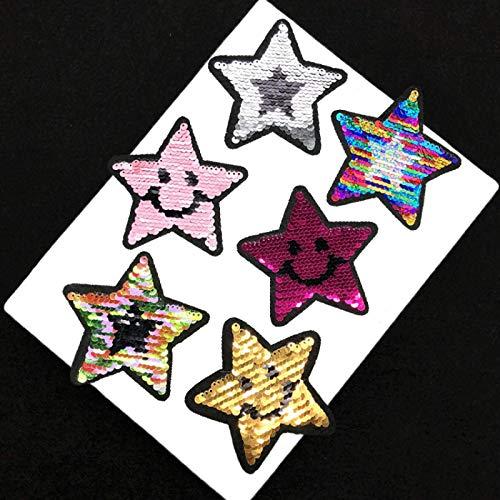 Patch Sticker,Parche de ropa Apliques DIY Coser o Planchar para Ropa Camiseta Jeans Sombrero Pantalon Bolsas, lentejuelas emoji estrellas 6 piezas