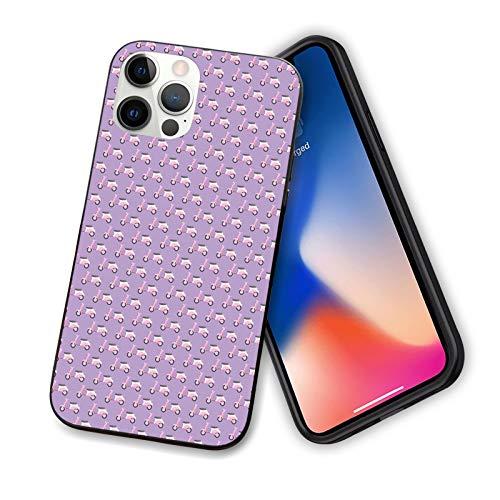 Funda compatible con iPhone 12 Series 2020 Vintage Deep Deck Girlie Scooters sobre un fondo púrpura sombreado para IP12mini-5.4'