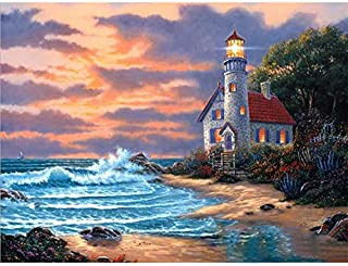 Holly LifePro DIY 5D Diamond Painting Kits for Adults, Full Drill Beach Lighthouse Crystal Rhinestone Embroidery Pictures ...