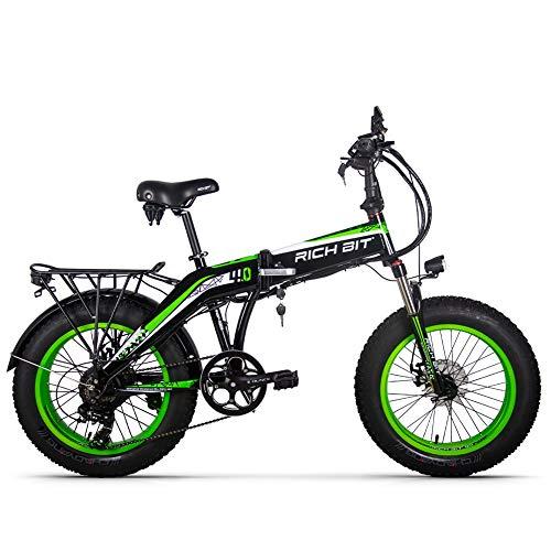 Rich Bit RT-016 48v 500w 9.6Ah 20 Pollici Pieghevole Grasso Pneumatico Bici elettrica E Bicicletta ebike Neve Grasso Bici con Schermo LCD Intelligente (Green)