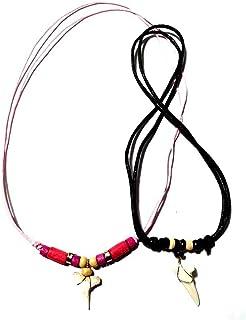 artigianale 2 collane,1 Nera e 1 Rosa Ciondolo Dente squalo 3 cm Circa Sono Sempre Differenti e Laccio Regolabile Tribale ...