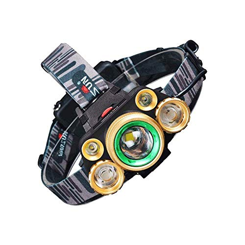JIAXU Linterna frontal LED con 4 modos impermeable con zoomable baterías recargables USB cabeza linterna diseñada para el trabajo camping al aire libre y la caza