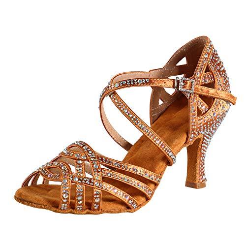 HIPPOSEUS Mujeres Salón de Baile Latino Zapatos Rhinestones Suela de Ante,ESQ-CYL357,Bronce Color,EU 38