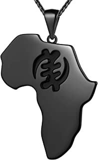 beautlace Africa Map Necklace Black Gun Plated Map Pendant African Style Jewelry for Men and Women KP0127K