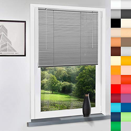 Sun World Aluminium Jalousie nach Maß, Jalousien Alu Jalousien nach maß innen Innenjalousien Maßanfertigung, für Fenster und Türen, Fenster, Klemmfix ohne Bohren (Silber, Höhe: 220cm x Breite: 50cm)