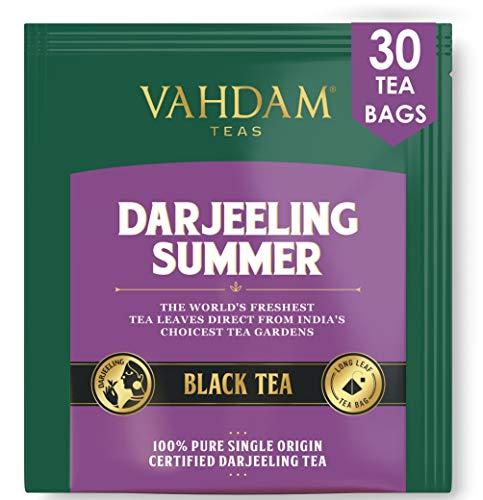 Darjeeling-Schwarztee aus Himalaya (30 Tea Bags)   Mittleres Koffein, hochenergetischer Tee   100% zertifizierte reine ungemischte Darjeeling Teebeutel aus Indien   Brew Hot, Iced oder Kombucha Tee
