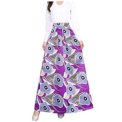 LuminitA Women's A-line Maxi Skirts Ethnic Style Printed Elastic High Waist Holiday Party Pleated Swing Skirt Purple from LuminitA