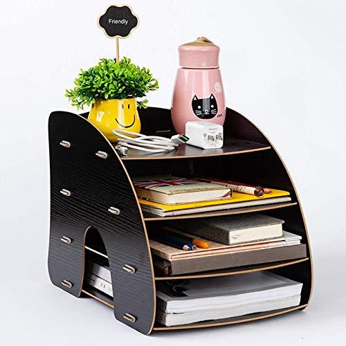 SSWD Organizador de revistas de madera, multifuncional, 4 compartimentos, organizador de escritorio, organizador de documentos y documentos (negro)