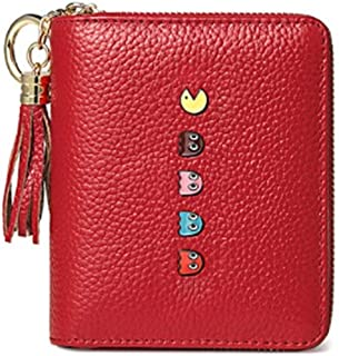 Pusaman New Women's Wallets, Small Leather Wallet a Short Paragraph, First Layer of Leather (Color : Red)