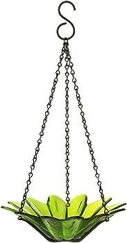 Couronne Lime Wild Bird 10.1 oz. Glass Hanging Bowl Bird Feeder 1 Ports