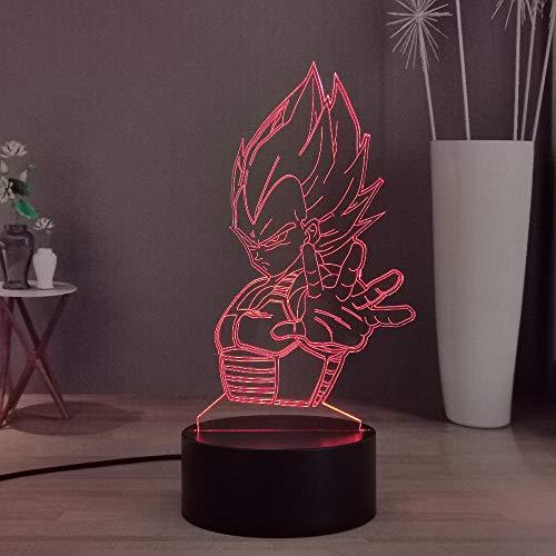 Laysinly Dragon Ball Vegeta 3D LED Night Light Desk Lamp, Son Goku 7 Colors Child Room Bedroom Night Lamp Decoration Light, Smart Touch Remote Kids Table Lamp, Boys Birthday Holiday Light (Vegeta)
