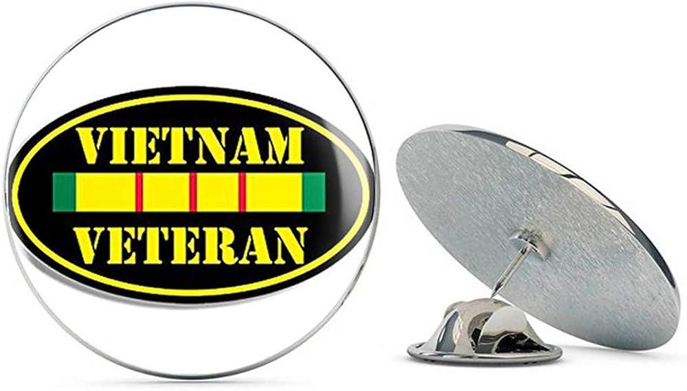 NYC Jewelers Black Oval Vietnam Veteran (Vet NAM Ribbon Proud Army) Metal 0.75