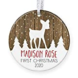 Personalized Baby's First Christmas Ornament 2020, Baby Shower Gift for New Baby, Rustic Newborn...