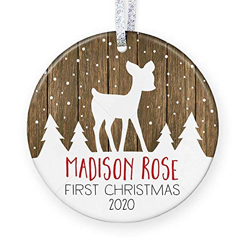 Personalized Babys First Christmas Ornament 2020, Baby Shower Gift for New Baby, Rustic Newborn Christmas Gift - 3 Flat Circle Porcelain Ornament - Gold & Silver Ribbon | PGM-OR-16