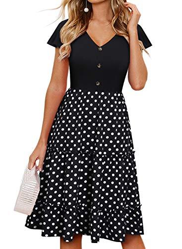 Sureple Dresses for Women Vintage Black Dot Flared Button Down Ruffles Hem Patchwork Knee Length Cute A-Line Casual Party Business Button Down Sundress (S, SP69-Black Dot P1)