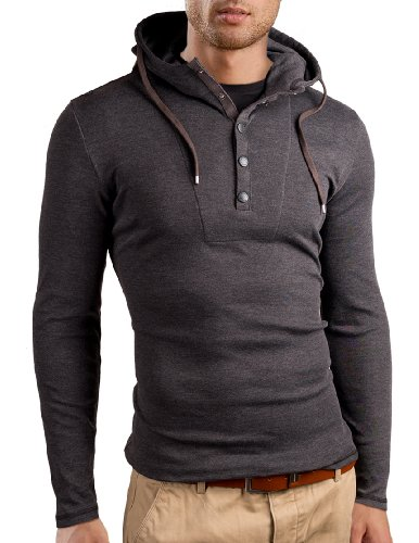 Grin&Bear Slim Fit Sweat-Shirt à Capuche et Boutons, Manches Longues, Gris foncé, M, GB120
