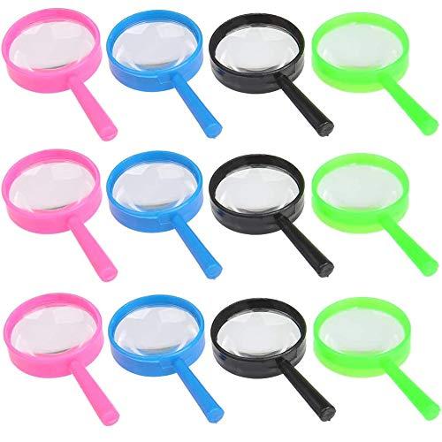 JAHEMU Lupas de Plastico de Mano 60 mm de Diámetro Magnifying Glasses 3XLupas de lectura Portátiles Lupas para niños 12 piezas