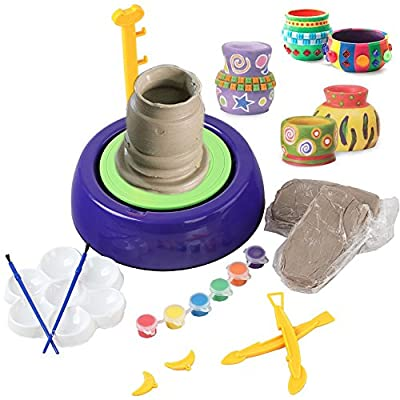 WETECH Pottery Wheel Kit, Art Pottery Studio, Creative DIY Pottery Wheel, Educational Toy, DIY Toy with Clay for Kids Children Beginners for Fun