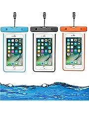 HUYIWEI Undervatten mobilskal, 3 stycken IPX8 vattentätt mobilskal, vattentät strandväska kompatibel för mobiltelefon 15 cm, semestertillbehör, lämplig för simning, dykning