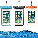 HUYIWEI Podwodne etui na telefon komórkowy, 3 sztuki IPX8, wodoszczelne etui na telefon komórkowy, wodoszczelny pokrowiec na telefon komórkowy o przekątnej ekranu 15,6 cm (6'), na urlop, do pływania, nurkowania