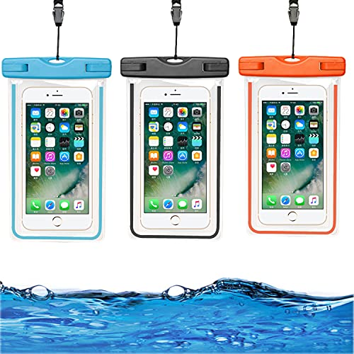 HUYIWEI 3 Piezas Funda Impermeable Móvil,6.0 Pulgadas Bolsa para Móvil Estanca,Ipx8 Estuche para Teléfono Móvil Submarino,Accesorios de playa,para iPhone HUAWEI Xiaomi Samsung