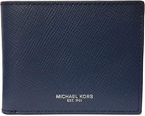 Michael Kors Men's Harrison Slim Billfold Wallet Leather No Box Included (Navy)