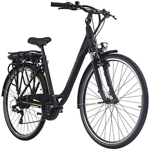 Adore E-City Bike Damen Versailles 28\'\' Alu Pedelec schwarz-grün 7 Gang E-Bike 250Watt Li-Ion 36V/10,4Ah