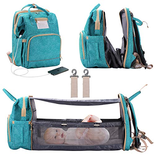 3 in 1 Diaper Bag Backpack Foldable Baby Bed Multi-Functional Waterproof Mummy Bag with USB Charge, Large Capacity Baby Changing Bag (Green Point)