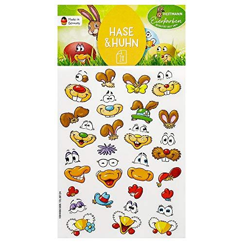 Heitmann Eierfarben Sticker Hasen/Enten-Gesichter, 10 g, 1007805