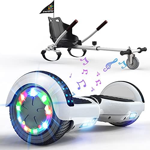 MARKBOARD Hoverboards, Accesorio para Karts, Scooter autoequilibrado con Hoverkart 6.5 Pulgadas Hoverboards para niños, con Luces LED y Altavoz Bluetooth, Regalo para niños y Adultos (Rosa-Blanca)
