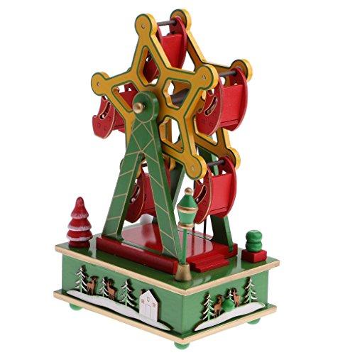 B Blesiya Christams Music Box Albero Di Natale Babbo Natale Kids Wind Up Giocattoli Ornamenti Decorazione - 8 Music Box Xmas Ferris Wheel