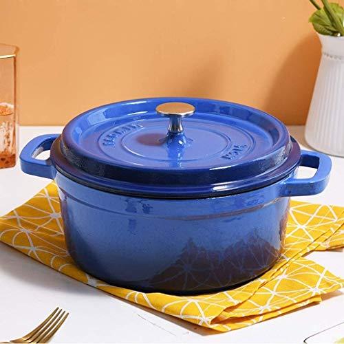 , Casserole antiadhésive en Fonte, cocotte Casserole en Fonte 24 cm / 3,7 L, pour la Cuisson, Le rôtissage, la Cuisson. (Couleur Bleue)