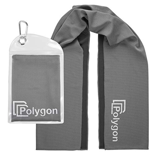 Polygon Cooling Towel, Microfiber Ice Sports Towel, Instant Chilling Neck Wrap for Sports, Workout, Running, Hiking, Fitness, Gym, Yoga, Pilates, Travel, Camping & More, 40' x 12', Gray