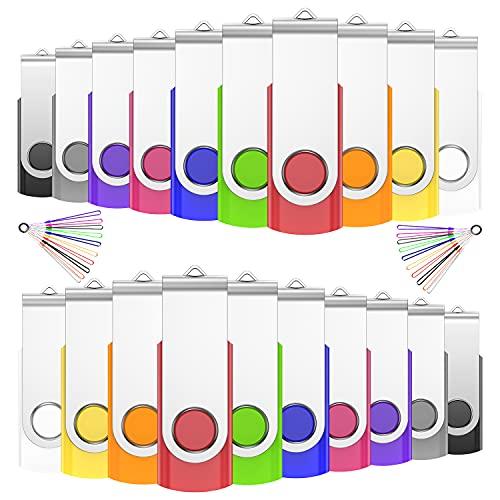 JIUSHARK - Lote de 20 memorias USB de 4 GB, 20 unidades, llavero, 20 unidades, multicolor