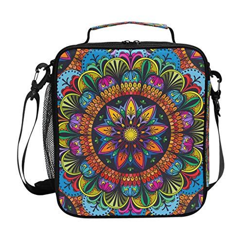 Bolsa de almuerzo BIGJOKE, mandala india floral con cierre aislante de neopreno para adultos y niños, bolsa de escuela al aire libre, picnic, camping, viajes