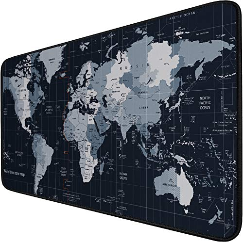 Gaming Mouse Pad Large (31.5X15.7In), Thick Extended Mouse Mat Non-Slip Spill-Resistant Desk Pad with Special-Textured Surface, Anti-Fray Stitched Edges for Esports Pros/Gamer/Desktop/Office/Home-map