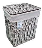 Cestas de mimbre para la colada y el lavado, en color gris y blanco, forro...