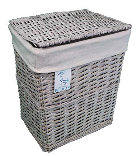Cestas de mimbre para la colada y el lavado, en color gris y blanco, forro extraíble lavable, solución de almacenamiento natural, ropa, baño o dormitorio, ratán y mimbre, Gris, Rectangular 45 ltr