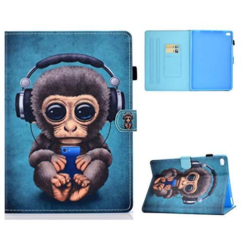 Vogu'SaNa Kompatible für Tablet Hülle iPad 9.7 2017 2018 2016/iPad Air Hülle Leder Tasche Schutzhülle Flip Cover Einschlaf/Aufwach Abdeckung Klapphülle Ständer Karten Fächer Magnet Deckel Schale-AFFE