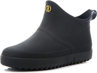 Rojeam Bottes de Pluie pour Hommes Chaussures Chelsea en Caoutchouc imperméables Chaussures de Marche en Plein air