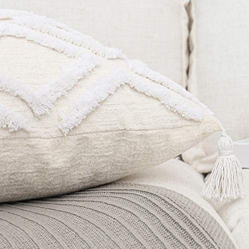 PLWORLD Boho Lumbar Throw Pillow Cover 12x20 Inch, White Geometric Tufted Soft Cream Beige Chenille Textured Accent Small Cushion Case with Tassels for Couch Bedroom Sofa, 1 PC