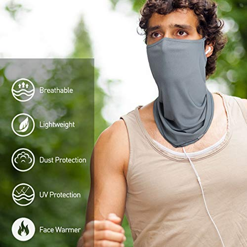 Oscenny Snoods for Women Adjustable Drewstring Sun Wind Dust Protection Snood Mesh Fabric for Easily Breathing 2 Packs (Black/grey)
