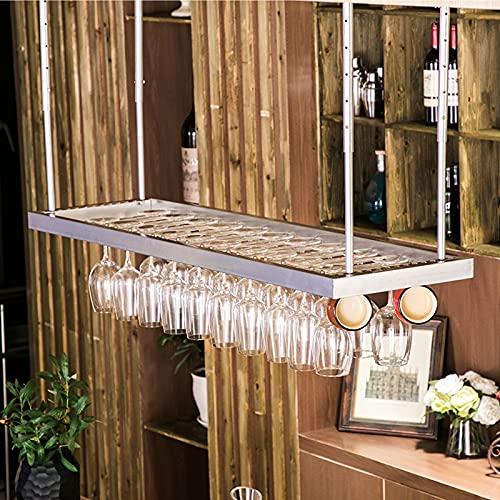 Estantes colgantes para copas de vino Estante de vino de hierro de hierro, estanterías de vino techo altura ajustable, estiércol de estilo rústico Rack para barras Restaurantes Cocinas, estante de alm
