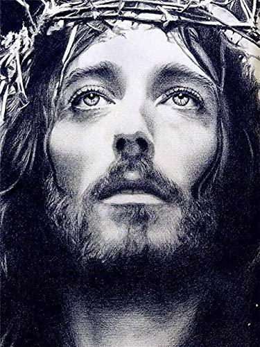 Lovmo Cristo Figura Religiosa jesús 5d Pintura de Diamantes Diamantes de imitación imágenes de Dibujos Animados Bordado de Diamantes Punto de Cruz Pintura de Cristal(Cuadrado 30X40CM)