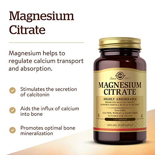 Solgar Magnesium Citrate, 120 Tablets - Promotes Healthy Bones - Supports Nerve & Muscle Function - Non GMO, Vegan, Gluten Free, Dairy Free, Kosher - 60 Servings