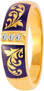P.C. Chandra Jewellers 22k (916) Yellow Gold and American Diamond Ring for Men