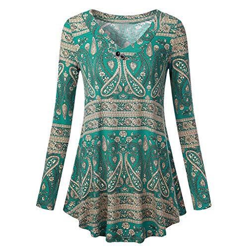 Damenblusen Langarm Oberteile Elegante Blusen Damen Strandbluse T Shirt LUCKDE Damen V Ausschnitt Pullover Sweatshirts Hoodies Druckbluse
