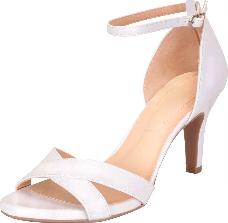 Cambridge Select Women's Open Toe Crisscross Strappy Comfort Mid Heel Sandal