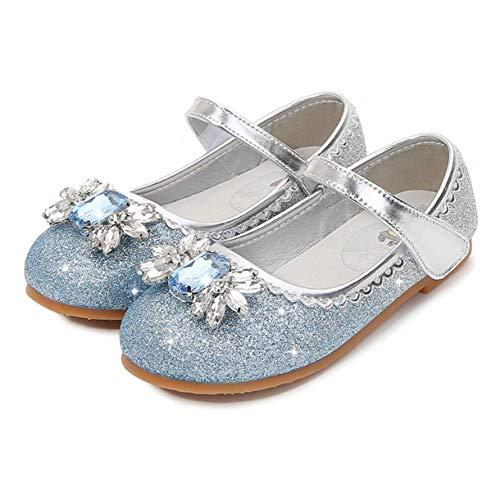 STRDK Niña Princesa Zapatos Sandalias Elsa Reina de Nieve Disfraz Zapatos de Cristal a Juego Niños Baile Zapatos Ballet Fiesta de Vestir Lentejuelas Cristal Arco Cosplay Fiesta Zapatos Azul Rosado