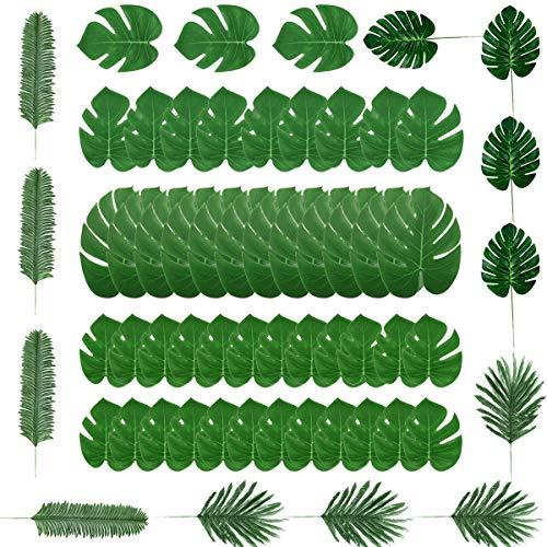 Kitchen-dream Künstliche Palm Blätter, Tropische Pflanze Palm Blätter, Grün Palme Hawaii Kunstpflanze Tischdeko für Hawaiianische Tisch Party Dschungel Strand Luau Thema